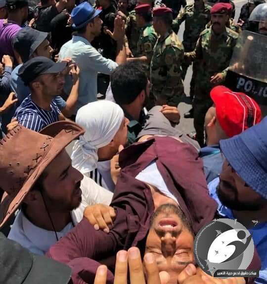 مركز حقوق يدين استخدام العنف ضد المتظاهرين ويطالب قائد عمليات بغداد بالتدخل